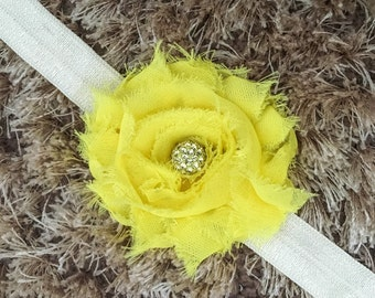 Yellow Chiffon Headband, Shabby Chic Newborn Headband, Vintage Style Flower Baby Headband, Shambala Bead Sparkle Newborn Prop