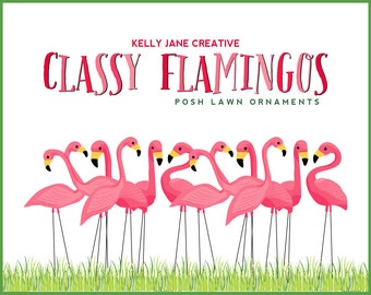 Pink Flamingo Lawn Ornament Clipart | Stationery and Product Graphics | Fundraiser Flamingo Illustrations | Vector Graphics