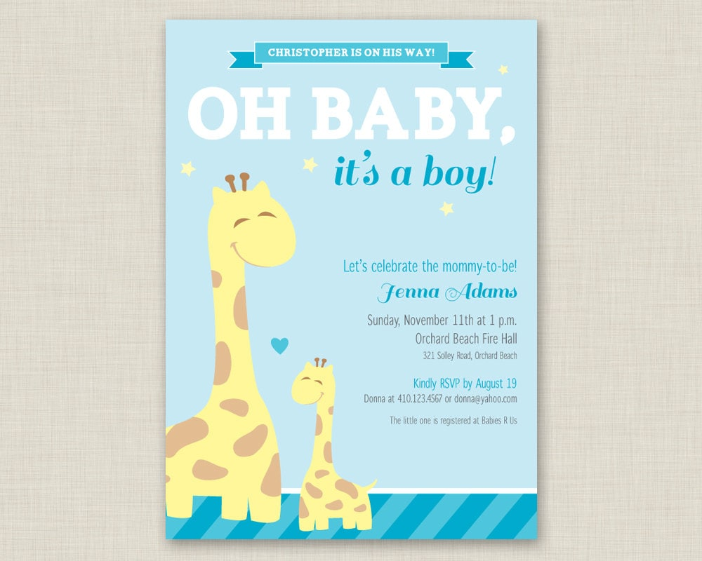 Giraffe Baby Shower Invitation / Printable Baby Shower