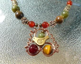 OISEAU sur un collier fleur collier fil enveloppé jade cornaline tiger eyes oiseau