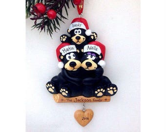 3 Black Bears Family Ornament / Personalized Christmas Ornament / Family of Three Bears / Christmas Ornament