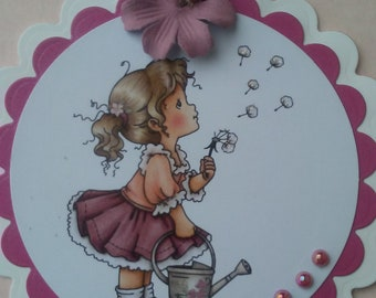 Little girl card, friendly hello greeting card