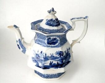 Vintage Blue White Delft Teapot - Temple Lid