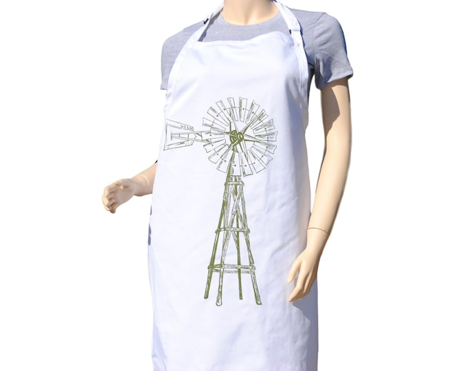 Kitchen Apron - Olive Green Windmill Apron - Large Apron - BBQ Apron -  Farm Apron - Kitchen Gift Ideas - Gifts for Mom - Birthday Gift Idea