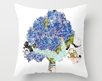 Indoor pillow cover with pillow insert, Indoor Decorative Pillow Cover,  A Hydrangea Tree
