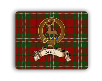 Scott Scottish Clan Tartan Crest Computer Mouse Pad
