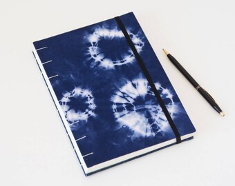 Boho Journal - Notebook Journal Handmade with Tie Dye Fabric Cover - Great Boho Gift for Her