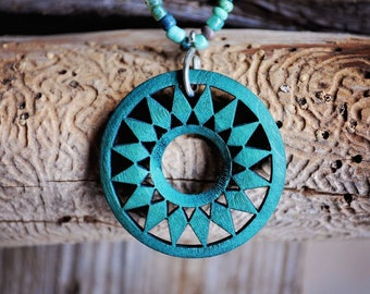 Necklace - Aqua seed beads with wooden aqua sun medallion