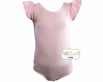 Lt.Pink Leotard (Child) Flutter/Ruffle Sleeve Leotard-Dance-Ballet-Hip Hop-Gymnastics