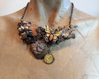 Autumn in the Garden with butterfly ~ Timeless lady in the water bronze - Vintage Pieces ReCreation ~ Assemblage Bib Necklace