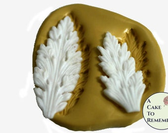 Pointed acanthus leaf mold set for cake decorating, polymer clay. Cake supplies and cake silicone molds for DIY wedding cakes. M5041