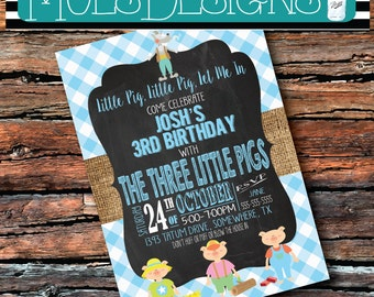 Any Color 3 Little PIGS PIGGY PINK Oink Oink Wolf Burlap Chalkboard Baby Girl Boy 1 2 3 4 5 6 Birthday Brunch Gingham Book Party Invitation