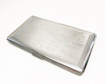 USA Cigarette / Business Card Case - Vintage Metal 1950s Mayell United States Map Mirrored Chrome Card Holder / Cigarette Case