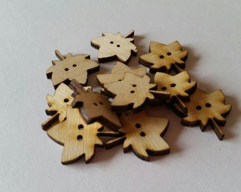 Unfinished Wooden Maple Leaf Laser Cut Sewing Buttons!
