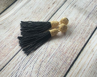 Black and gold beaded tassel earrings, wedding jewelry, dangle earrings, bridesmaids gift, statement jewelry, gift for her