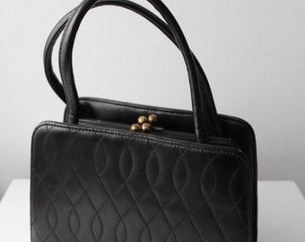 Vintage Black Faux Quilted Leather Handbag Purse
