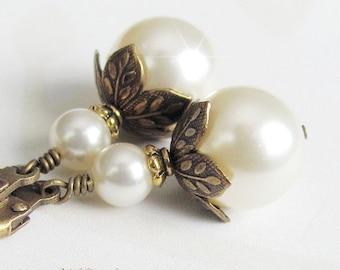 Pearl Drop Earrings,  Vintage Style Antique Brass and Pearl Earrings, Bridal Pearl Earrings, Vintage Wedding Earring Vintage Wedding Jewerly
