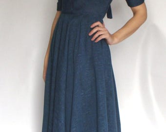BLUE slubbed VINTAGE 1950's DRESS xs 24 waist new look (A4)