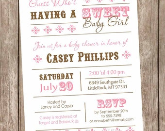 Girl Baby Shower Invitation, Sweet Baby Girl baby shower invitation, pink and brown, typography, printable invitation
