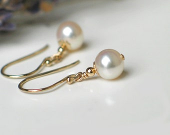 Pearl Earrings | 6mm White Freshwater Pearls | 14k Gold Fill | Leverbacks | Petite Pearl Dangles | Birthday | Wedding Gift | Everyday Pearl