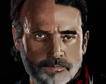 Rick Grimes vs. Negan Illustration All Out War (The Walking Dead)