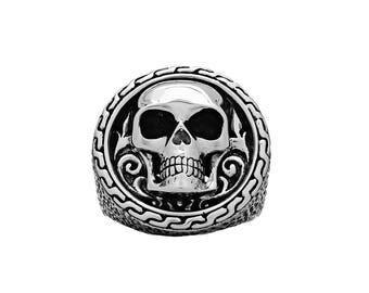 Grinning Skull Emblem Ring