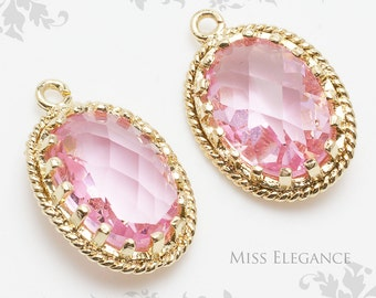 2pcs Pink Oval Faceted Glass Stone Pendants, Gold Plated Over Brass Unique Jewelry Findings  //  13mm x 17mm // G9002-BG