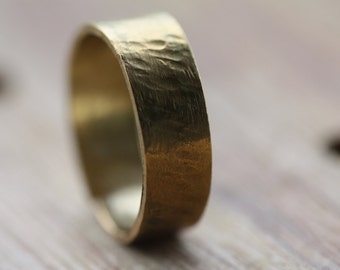 Brass hammered ring/Hammered engagement band/Men's hammered wedding ring /Women custom made ring/Personalised ring/Engraved ring/Man's ring