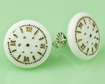 Vintage Milk Glass Clock Post Earrings