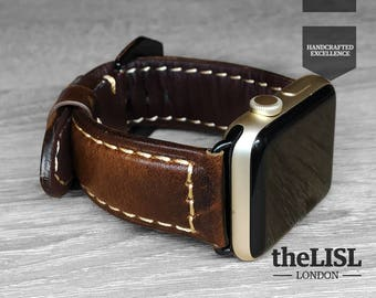 Apple Watch band / Straps 38 / 42 mm Genuine Leather Vintage Classic Elegant Strap Engraving - Dark Brown Modern Professional Style