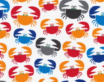 Organic Cotton Fabric by the Yard -- Cloud 9 Fabrics Crabs (red, orange, gray and blue)