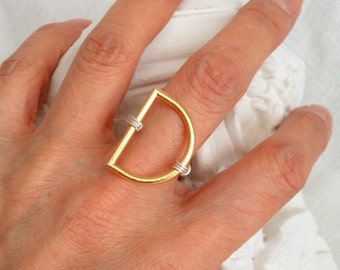 Modern D Ring  Minimalist Gold Silver Statement Ring -Size 6.5 to 7-  Fashion Cocktail Bridal Ring D Letter Initial Ring