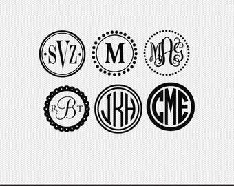 circle monogram frames with 10+ monograms svg dxf file instant download silhouette cameo cricut downloads clip art commercial use