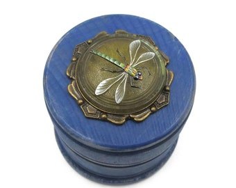 NEW Rustic Royal Blue Wood Stain - Czech Glass Dragonfly - Round Wooden Trinket Box