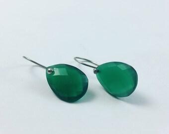 Simplistic Green Drop Earrings