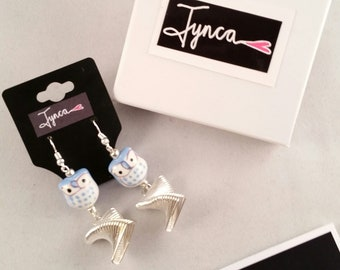 Blue Owl Earrings With Silver Square Charms