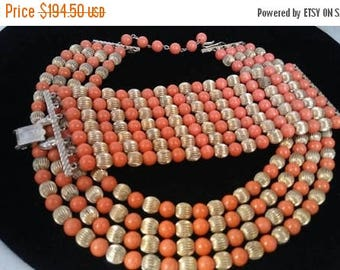 ON SALE CORO Gold & Orange Beaded Statement Necklace Bracelet Set, High End Designer Signed Collectible Hard To find Rare Jewelry Parure
