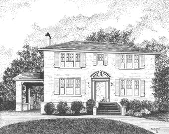 CUSTOM HOME SKETCH, Pen and Ink Drawing by Suzanne Churchill, Realtor Closing Gift, Housewarming, Wedding or Moving Gift, Gift Certificate