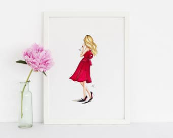 The Red Dress (Fashion Illustration Art - Fashion Sketch prints - Home Decor - Wall Decor )