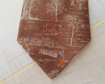 70s Golf Neck Tie Brown Trees Golfers Necktie Golfing Tie 1970s Countess Mara Silk Blend