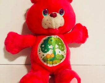 Vintage 1991 hot pink Kenner environmental edition Carebear plush toy/ stuffed animal