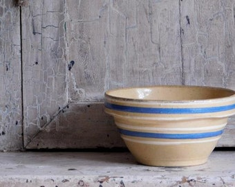 Vintage Yellow Ware Bowl, Ovenware Size 5, Blue and White Stripes