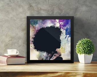 African American Wall Art Printable Poster Black Woman Art Afro Hair Wall  Art Black Women Art