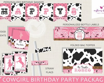 Cowgirl Party Package | Cowgirl Birthday Decorations | Rodeo Party Package | Horse | Rodeo Decorations | Banner | Printable Party Package