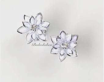 Pair of clear rhinesone lotus flower wedding plugs for gauged or stretched ears: Sizes 6g 4g 2g 1g  0g 00g 4mm 5mm 6mm 7mm 8mm 10mm