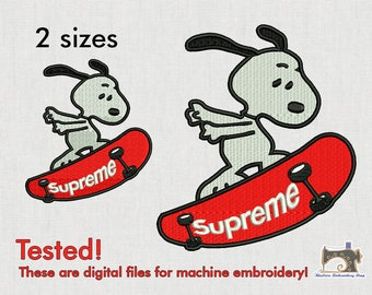Supreme Snoopy Machine embroidery design - 2 sizes for instant download