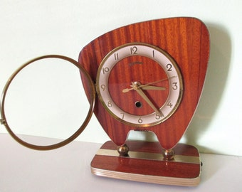 Atomic Age Formica Boomerang Clock - Funky Shape - Perfect Working Order - Mid Century Decor Chic - RARE FIND