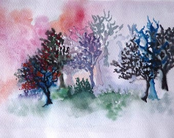 In the happy forest - 2010 - original watercolor 20 X 30 cm