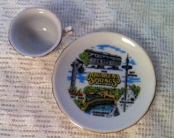 Aquarena Springs Souvenir Mini Cup and Saucer - Also listed: North Dakota-Oklahoma-Arkansas-Texas-Great Smoky MTS-Legend of the Sand Dollar