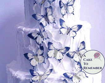15 large edible butterflies in black and white for cake decorating. Wafer paper butterflies, wedding cake toppers, cupcake decorations